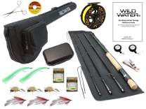 Wild Water Fly Fishing Fortis Series CNC Machined Fly Reel, 9 Foot, 4-Piece, 7/8 Weight Fly Rod Complete Fly Fishing Rod and Reel Combo Starter Package with Saltwater Flies