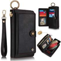 XRPow Wallet Case for Galaxy S21+ / S21 Plus 6.7Inch [2 in 1] Magnetic Detachable Wallet Case [Vegan Leather] Zipper Clutch Folio Flip Card Slot [Wrist Strap] Purse Protection Back Cover - Black