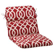 """Pillow Perfect Outdoor/Indoor New Geo Round Corner Chair Cushion, 40.5"""" x 21"""", Red