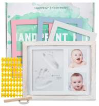 Baby Handprint Kit |NO Mold| Baby Picture Frame, Baby Footprint kit, Perfect for Baby Boy Gifts,Top Baby Girl Gifts, Baby Shower Gifts, Newborn Baby Keepsake Frames (Standard, Rustic White)