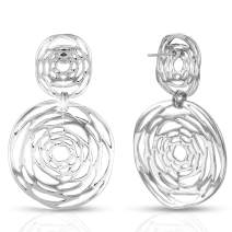 XZP 925 Silver Pin Ladies Hollow Out Flower Dangle Earrings Gifts Retro Style Plated Rose Filigree Drop Earrings For Women