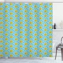 "Ambesonne Yellow Submarine Shower Curtain, Aqua Pattern with Little Fish Fun Nautical Porthole Periscope Ocean Theme, Cloth Fabric Bathroom Decor Set with Hooks, 75"" Long, Aqua Yellow"