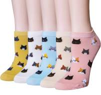 Justay 5 Pairs Womens Cute Cat Socks Novelty Funny Cat Claw Socks Animal Fun Ankle Socks