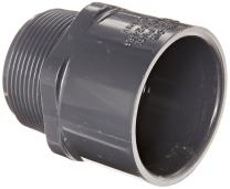 """Spears 436-G Series PVC Pipe Fitting, Adapter, Schedule 40, Gray, 1-1/2"""" NPT Male x 1-1/2"""" Socket"""