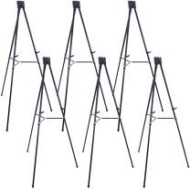 """U.S. Art Supply 70"""" High Showroom XL Aluminum Display Easel (Pack of 6), Holds 45 lbs - Heavy Duty Extra Large Black Presentation Stand, Adjustable Portable Floor Tabletop Tripod - Show Signs, Posters"""