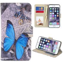 UrSpeedtekLive iPhone 6s Case, iPhone 6 Case, Premium PU Leather Funny Pattern Flip Wallet Case Cover w/Card Slots & Stand Compatible iPhone 6/6s 4.7 Inch, Blue Butterfly