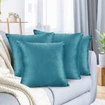 "Nestl Bedding Throw Pillow Cover 16"" x 16"" Soft Square Decorative Throw Pillow Covers Cozy Velvet Cushion Case for Sofa Couch Bedroom, Set of 4, Teal"