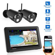 "CasaCam VS802 Wireless Security Camera System with 7"" Touchscreen and HD Nightvision Cameras, AC Powered (2-cam kit)"