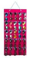 PACMAXI Sunglasses Storage Organizer, Wall Pocket Mounted by Sunglasses, Hanging Eyeglasses Storage Holder, Eyewear Display. (Rose red + ice Blue, 25 Slot)