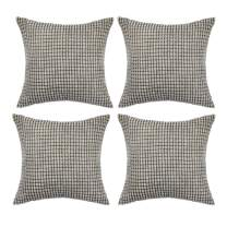 """Set of 4,Decorative Throw Pillow Covers 22""""x22"""" (No Insert),Solid Cozy Corduroy Corn Accent Square Pillow Case Sham,Soft Velvet Large Cushion Covers with Hidden Zipper for Couch/Sofa/Bed,Light Gray"""