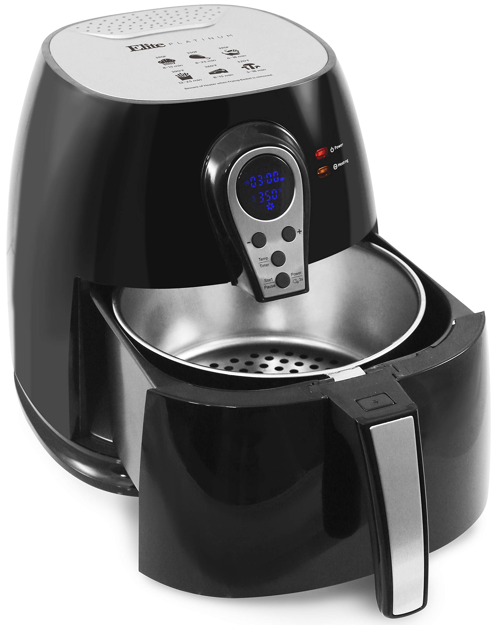 Maxi-Matic EAF-05SS Electric Digital Hot Air Fryer Oil-Less Healthy Cooker, Timer & Temperature Controls, 304 Stainless Steel Basket PFOA/PTFE Free, 1400-Watts, Black 3.2 Quart