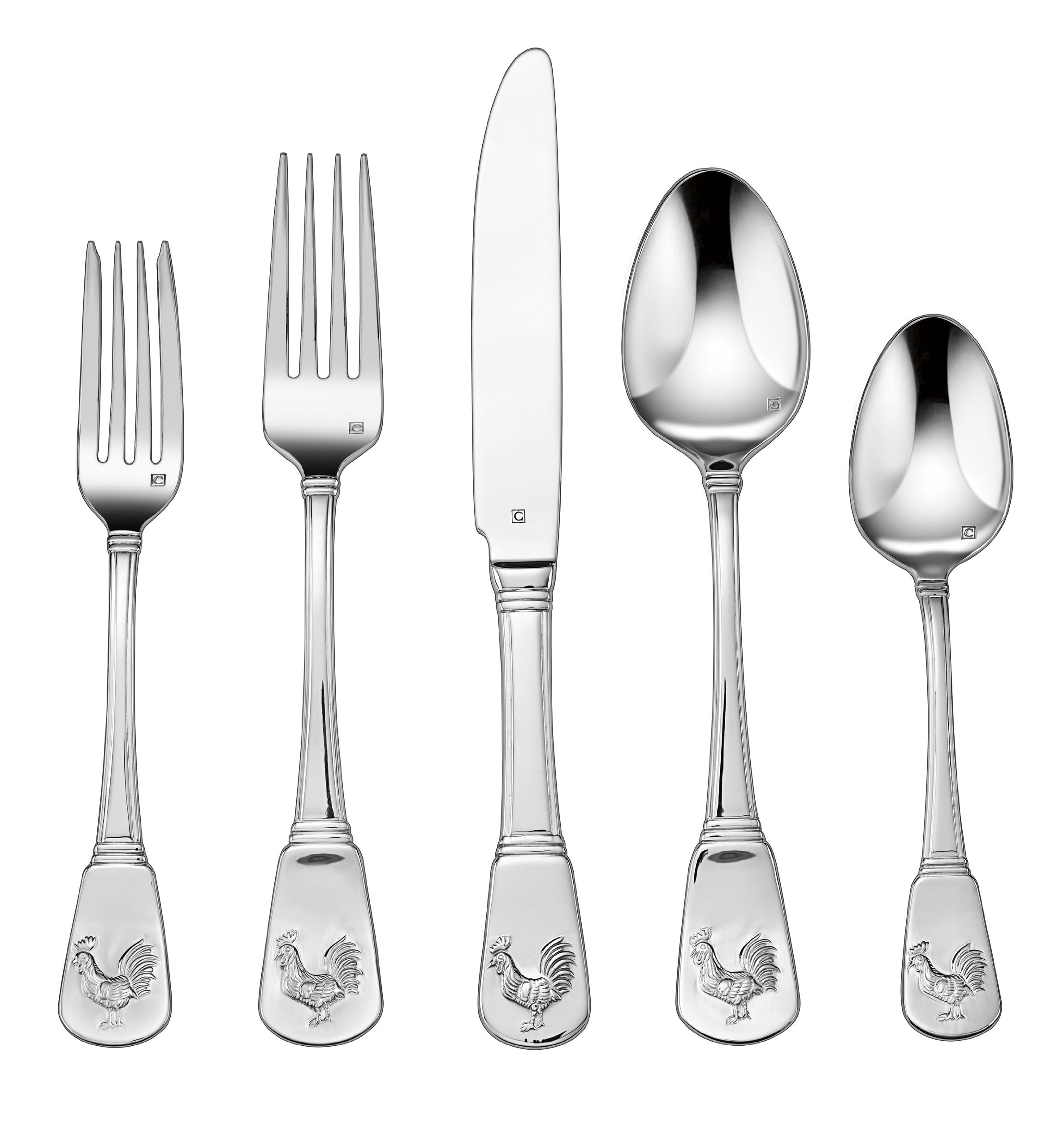 Cuisinart CFE-01-FR20 20-Piece Flatware Set, French Rooster