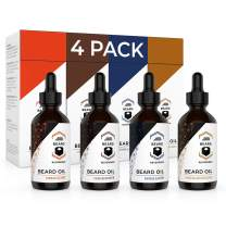 Beard Oil 4 Pack (Vanilla, Sandalwood, Cedarwood, Citrus) – All Natural Leave-in Conditioner to Soften and Style Beards and Mustaches – Made with Tea Tree, Jojoba, Argan Oils - 1oz Each