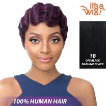 it's a Wig! - it's a Cap Weave! 100% Human Hair Full Wig Side Lace Part - HH NUNA (1B - Off Black)