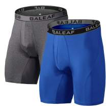 BALEAF 9'' Men's Active Underwear Sport Cool Dry Performance Boxer Briefs with Fly (2-Pack)
