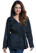 Meaneor Women Casual Waterproof Detachable Hooded Zip Up Belted Solid Jacket