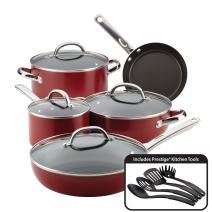 Farberware Buena Cocina Nonstick Cookware Pots and Pans Set, 13 Piece, Red
