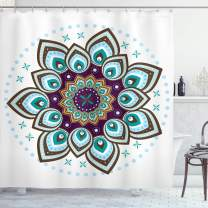 "Ambesonne Mandala Shower Curtain, Boho Lotus Flower Microcosm Motif Unique Retro Theme, Cloth Fabric Bathroom Decor Set with Hooks, 70"" Long, Purple Brown"