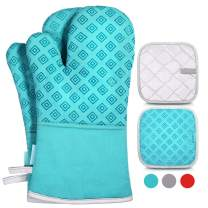 Homemaxs Oven Mitts and Pot Holders 4pcs Set, 500℉ Heat Resistant Non-Slip Food Grade Kitchen Mitten Cooking Gloves s for Kitchen, Cooking, Baking, BBQ (Turquoise)