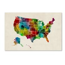 United States Watercolor Map 2 by Michael Tompsett, 30x47-Inch Canvas Wall Art