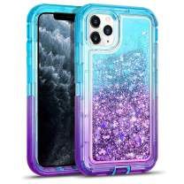 WESADN Case for iPhone 11 Pro Max Case for Women Girls Glitter Cute Shockproof Protective Heavy Duty Clear Sparkle Quicksand Hard Bumper Soft TPU Cover for iPhone 11 Pro Max,6.5 Inches,Teal Purple