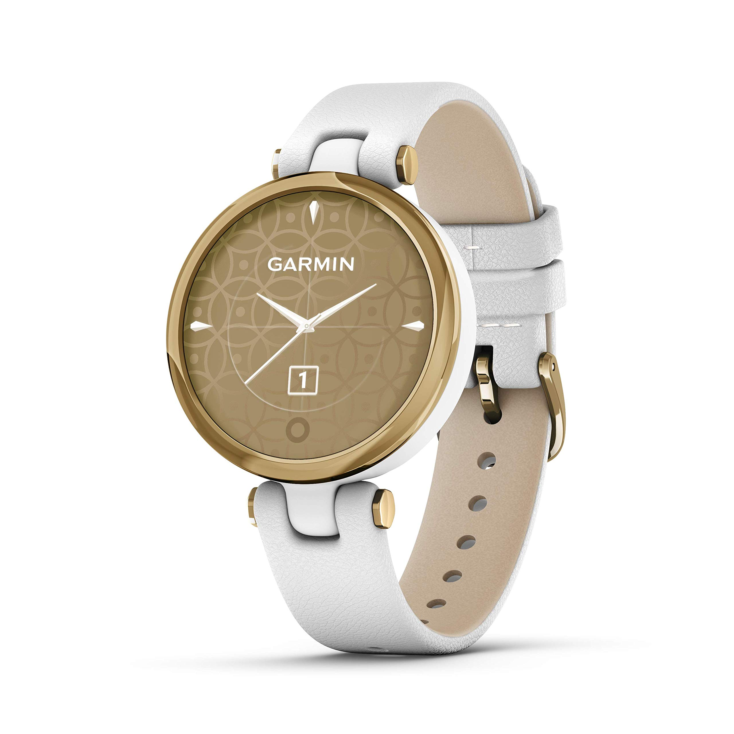 Garmin Lily, Small GPS Smartwatch with Touchscreen and Patterned Lens, Light Gold with White Leather Band