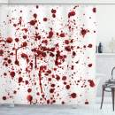 """Ambesonne Horror Shower Curtain, Splashes of Blood Grunge Style Bloodstain Horror Scary Zombie Halloween Themed Print, Cloth Fabric Bathroom Decor Set with Hooks, 84"""" Long Extra, Red White"""