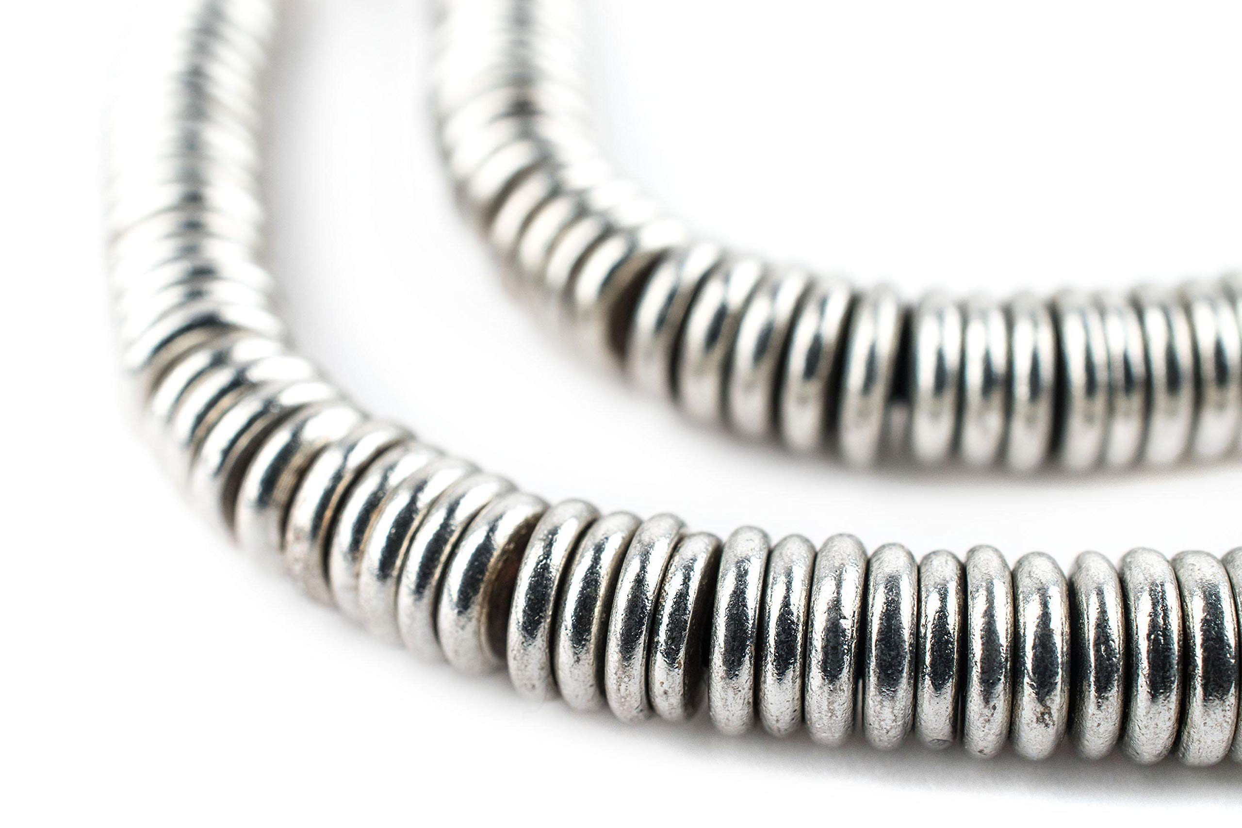 TheBeadChest Smooth Silver Heishi Beads 6mm White Metal Large Hole 16 Inch Strand