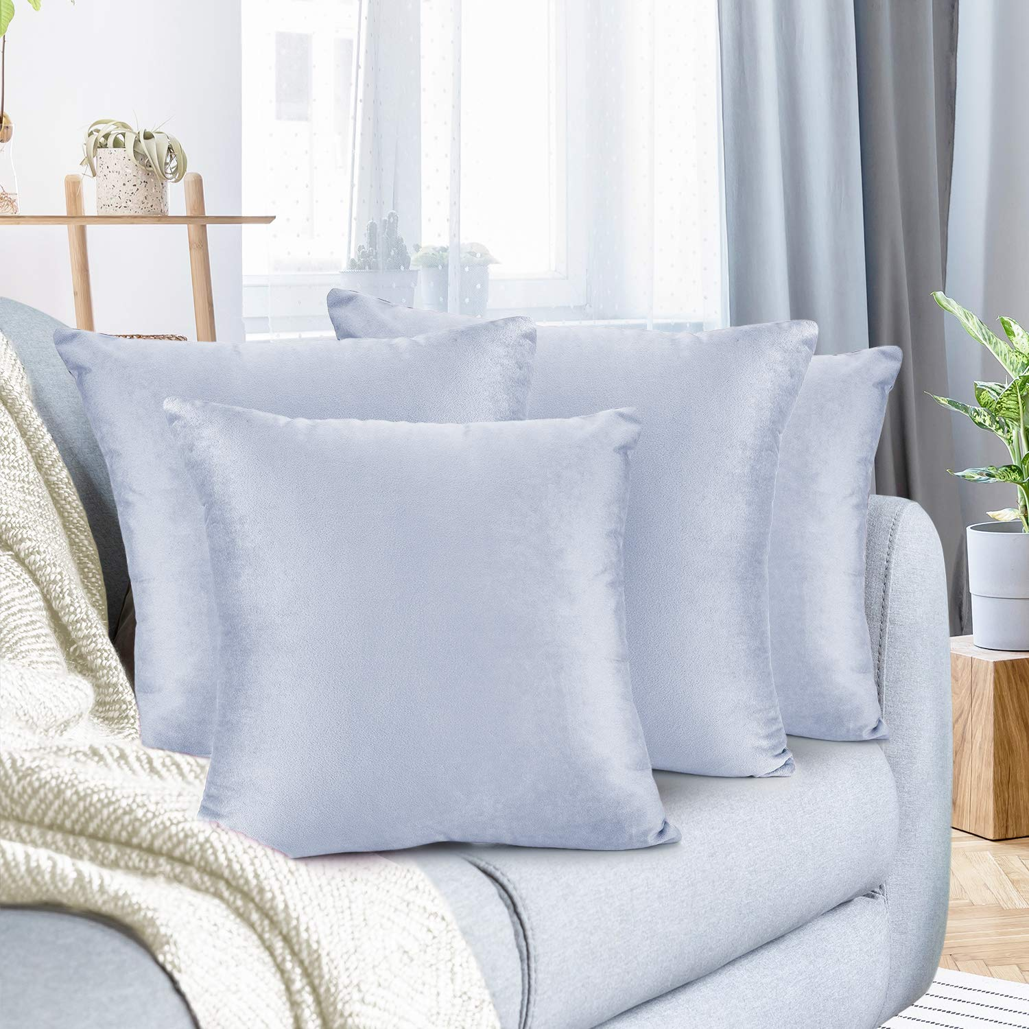 """Nestl Bedding Throw Pillow Cover 26"""" x 26"""" Soft Square Decorative Throw Pillow Covers Cozy Velvet Cushion Case for Sofa Couch Bedroom, Set of 4, Ice Blue"""