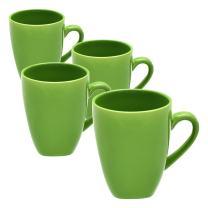 10 Strawberry Street Square 10 Oz Mugs, Set of 6, Green