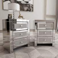Mecor Mirrored Nightstand, Set of 2 Side Tables, Living Room Table Sets, End Tables 3 Drawers Mirror Accent Side Tables Silver Finished Nightstands for Bedroom, Living Room, Crystal Silver