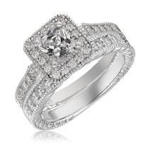 Mars wings Sterling Silver Platinum-Plated Elegant Cut CZ Diamond Engagement Wedding Ring Sets 2pcs(New).