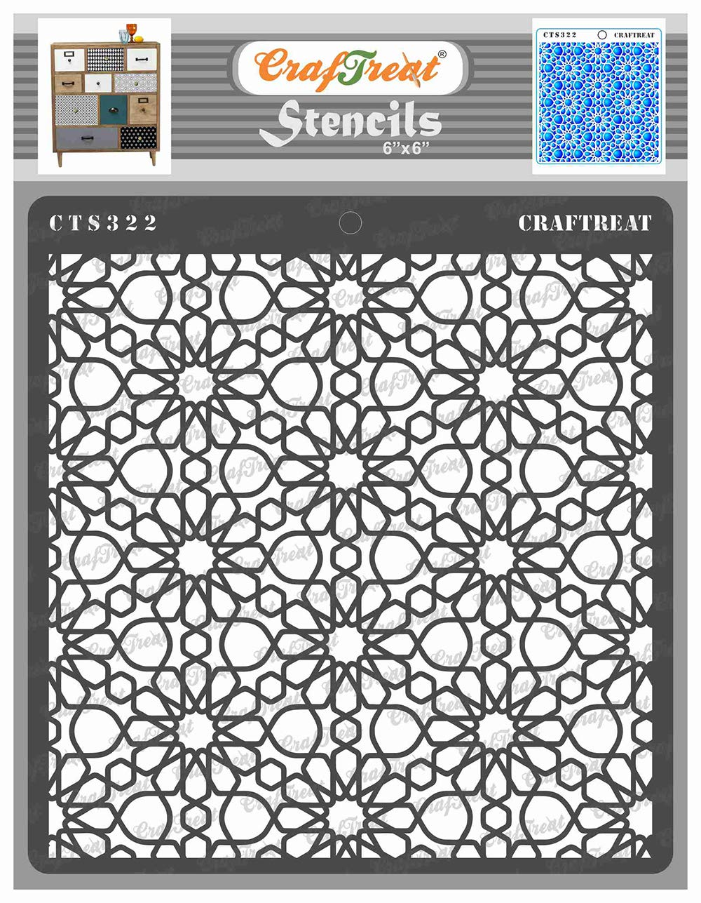 CrafTreat Pattern Stencils for Painting on Wood, Wall, Tile, Canvas, Paper, Fabric and Floor - Arabic Pattern Stencil - 6x6 Inches - Reusable DIY Art and Craft Stencils Pattern for Painting
