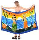 LA LEELA Women Plus Size Beach Cover Up Pareo Canga Swimsuit Sarong Hand Paint A
