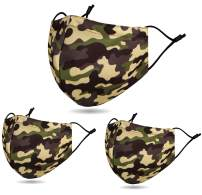 3 PCS Unisex Washable Reusable 2 Layers Face Madks, Camo Army Green