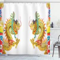 """Ambesonne Dragon Shower Curtain, Chinese Style Dragon Power Oriental Culture Theme, Cloth Fabric Bathroom Decor Set with Hooks, 70"""" Long, Yellow Orange"""