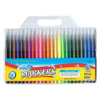 BAZIC 24 Color Fine Tip Washable Markers Pens, Assorted Colors Watercolor Marcador, Gift for Kids School Art Coloring Drawing