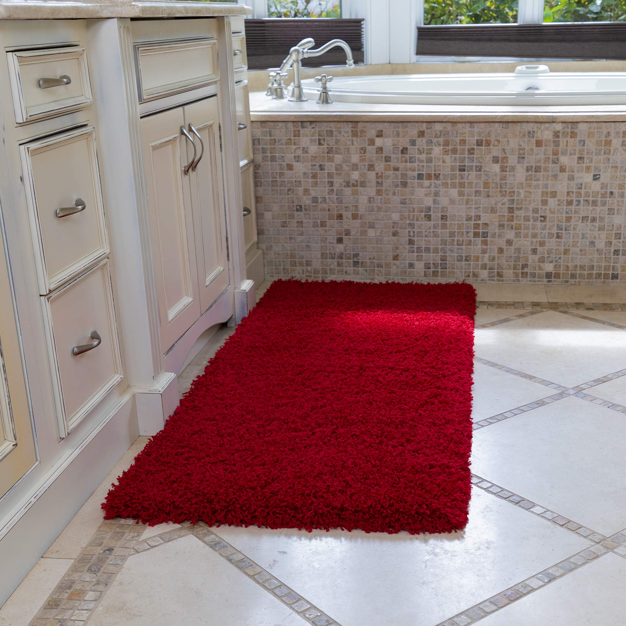 """Ottomanson Soft Cozy Color Solid Shag Runner Rug Contemporary Hallway and Kitchen Shag Runner Rug, Red, 2'7""""L X 8'0""""W"""