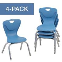 "FDP 12"" Contour School Stacking Student Chair, Ergonomic Molded Seat Shell with Chromed Steel Frame and Swivel Leg Glides - Powder Blue (4-Pack)"