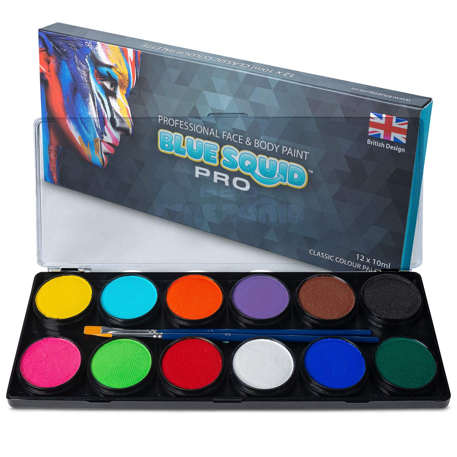 Professional Face Paint Kit - by Blue Squid PRO, 12x10g Classic Color Palette, 𝗡𝗘𝗪 Professional Face & Body Painting Supplies SFX, Adult & Kids, Superior Safe Paint for Sensitive Skin Halloween