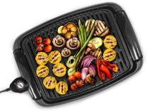 """Maxi-Matic EGL-3450 Indoor Electric Non-Stick Grill Adjustable Thermostat, Dishwasher Safe, Faster Heat Up, Low-Fat Meals, Easy Clean Design, 13 x 9-inch, 12"""" x 9"""" Square"""
