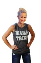 Tough Little Lady Womens Graphic tees Country Mama Tried Grey Muscle