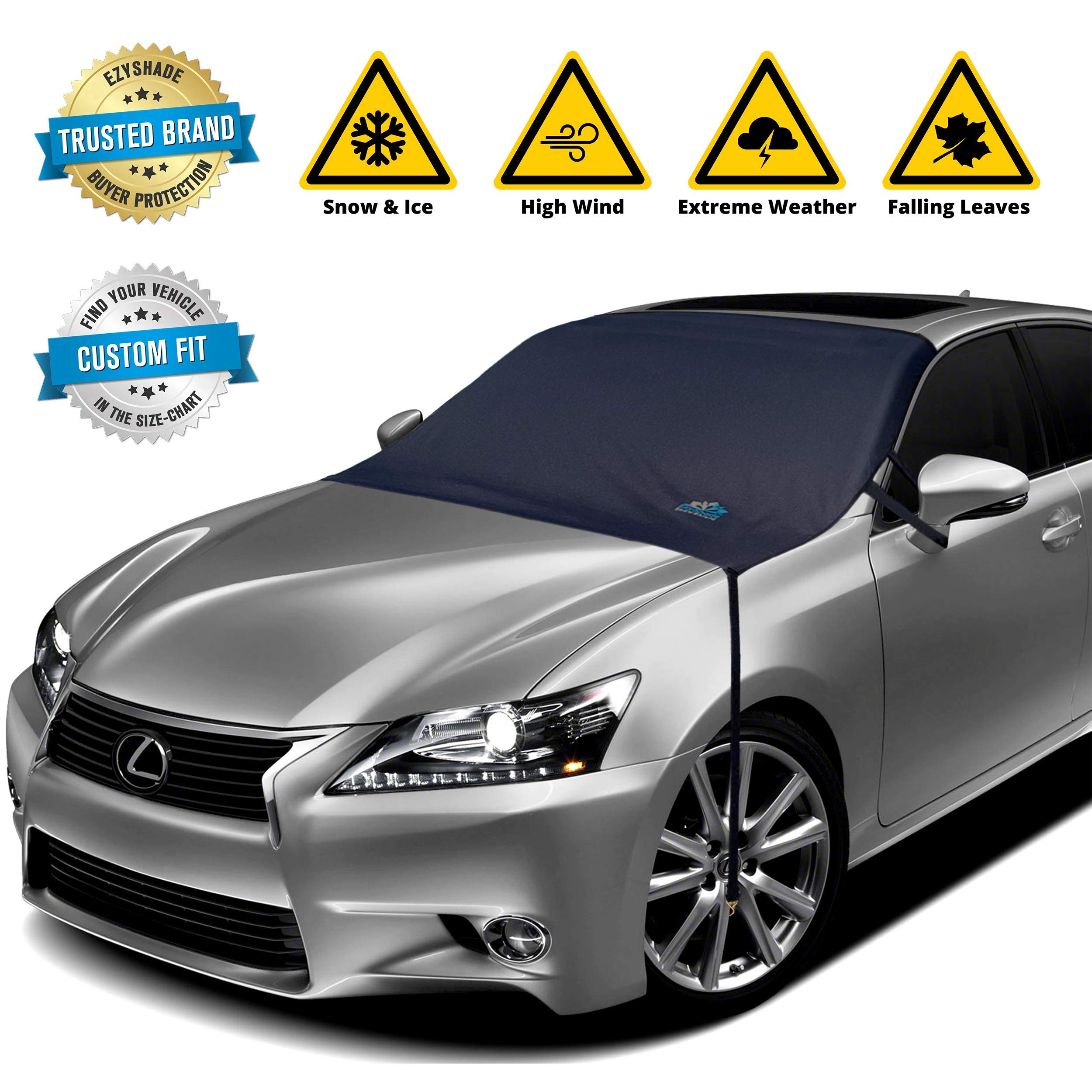 EzyShade Windshield Snow Cover + Bonus Item. See Size-Chart with Your Vehicle for Custom-Like Fit. Highest Durability Waterproof Fabric. No Scratchy Magnets. Keeps Snow and Ice Off. Standard (M) Size