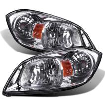AUTOSAVER88 Headlight Assembly Compatible with 2005-2010 Chevy Cobalt/ 2005-2006 Pursuit/ 2007-2009 Pontiac G5 Chrome Housing Amber Reflector Clear Lens