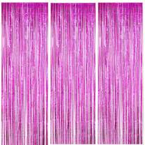 ONUPGO 3 Pack 3.28 ft x 9.8 ft Fuchsia Foil Curtains Metallic Tinsel Fringe Curtain Photo Booth Props Backdrop Curtain Perfect for Birthday Wedding Baby Shower Christmas Holiday Party Decorations
