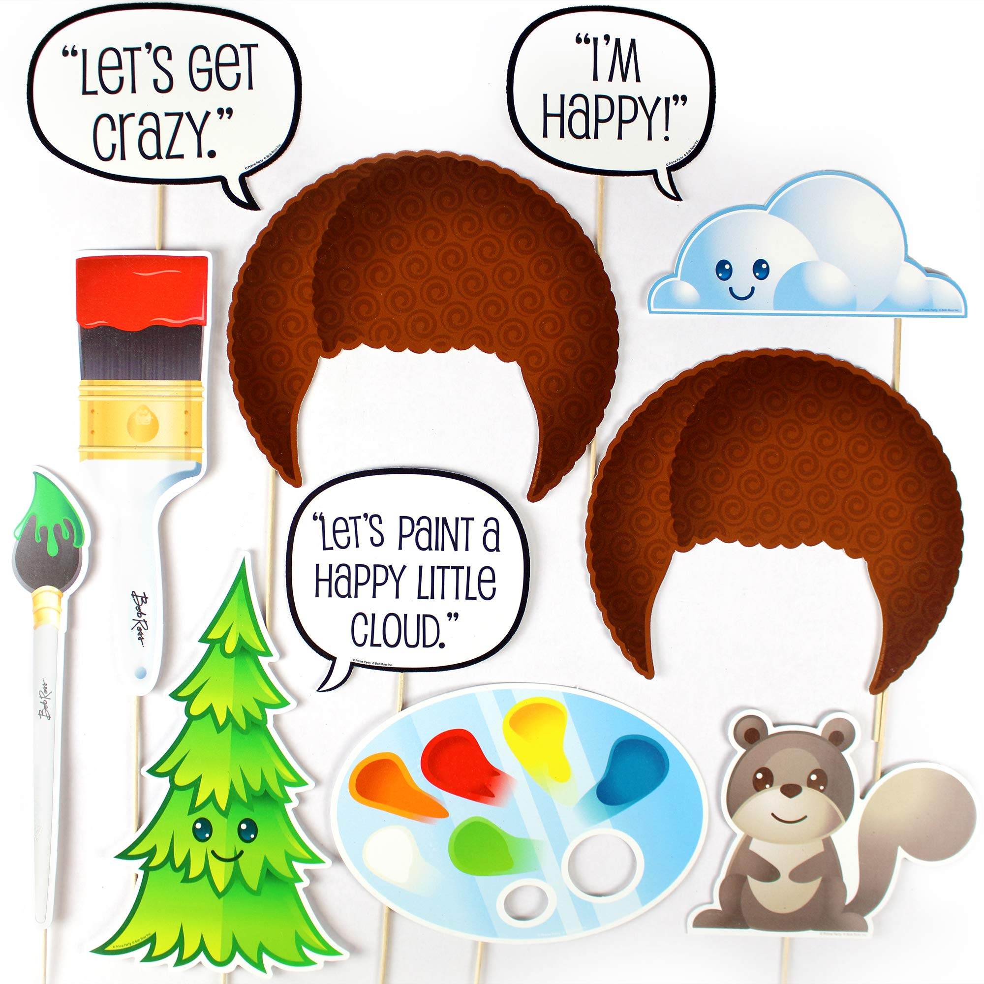 Bob Ross Photo Booth Props (11 Piece Set) Party Decorations by Prime Party