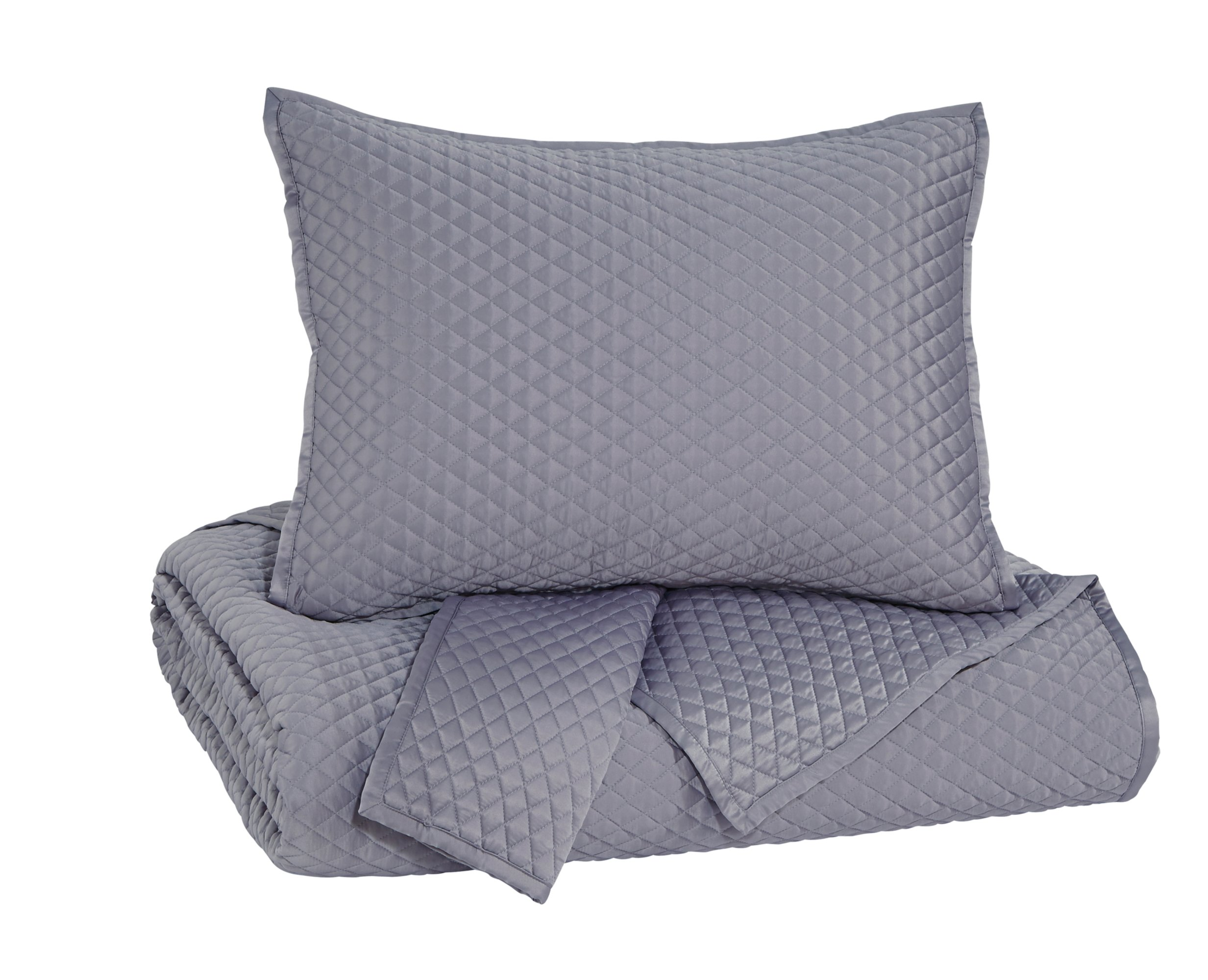 Ashley Furniture Signature Design - Dietrick Quilt Set - Queen - Contains 3 Pieces - Solid Color, Gray