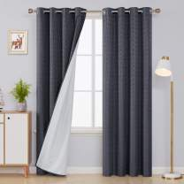 Deconovo Grommet Jacquard Blackout Curtains with White Coating Lining Maze PatternThermal Insulated Energy Saving Blackout Panels for Bedroom 52x72 Inch Grey 2 Curtain Panels