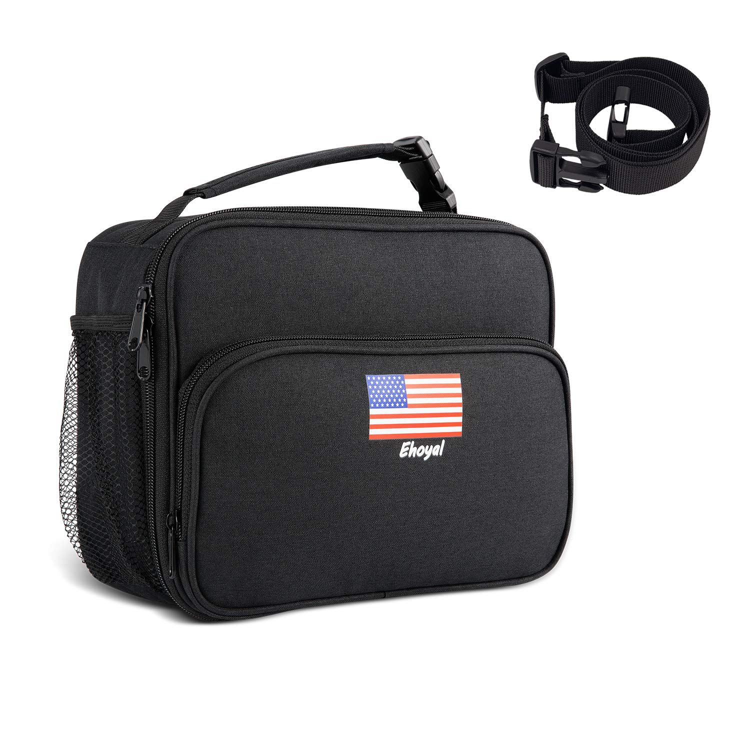 Lunch Bags Insulated Lunch Box: Waterproof Square Freezer Lunch Boxes Keep Food Fresh Durable & Reusable - Handbag & Backpack Gift for Adults, Kids, Boys, Men, Women, Girls - Black
