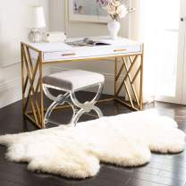 "Safavieh Sheepskin Collection SHS121A Genuine Sheepskin Pelt White Premium Shag Rug (3'7"" x 5'11"")"